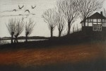 Birds Trees Farm House by Udo Nolte - original etching, signed and numbered 130/ 150