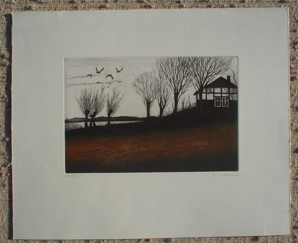 Birds Trees Farm House by Udo Nolte, shown with full margins - original etching, signed and numbered 130/ 150