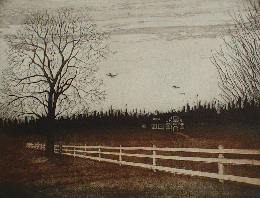 Farmhouse Fence by Udo Nolte - original etching, signed and numbered 130/ 200