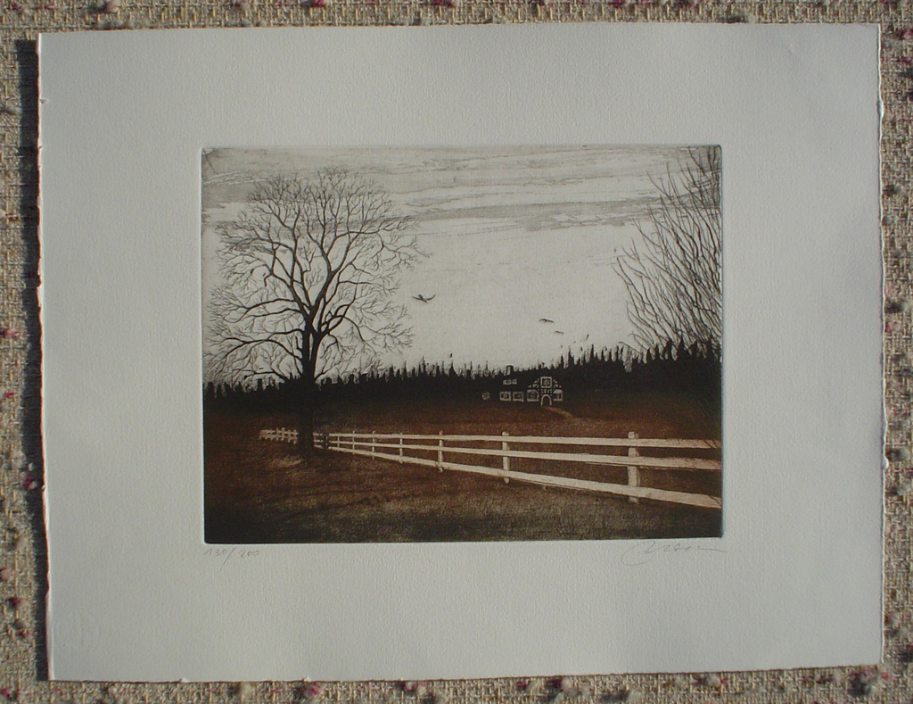Farmhouse Fence by Udo Nolte, shown with full margins - original etching, signed and numbered 130/ 200