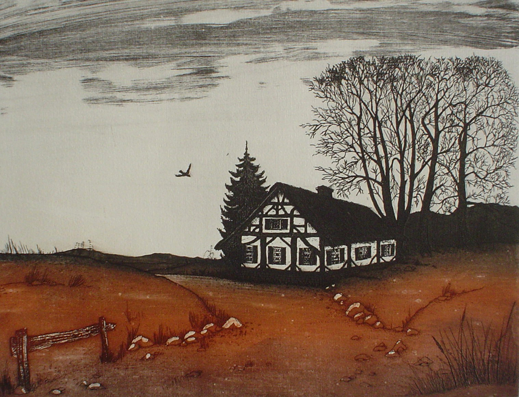 Farmhouse by Udo Nolte - original etching, signed and numbered 56/ 200