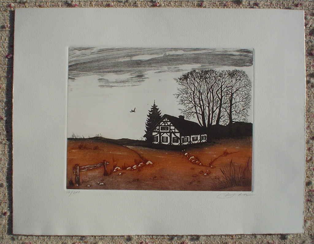 Farmhouse by Udo Nolte, shown with full margins - original etching, signed and numbered 56/ 200