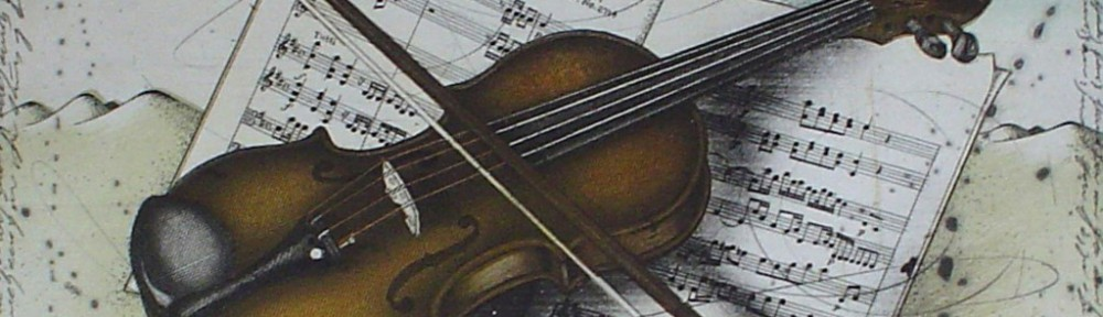 Violin And Mozart Music by Udo Nolte - original etching, signed and numbered 7/ 150