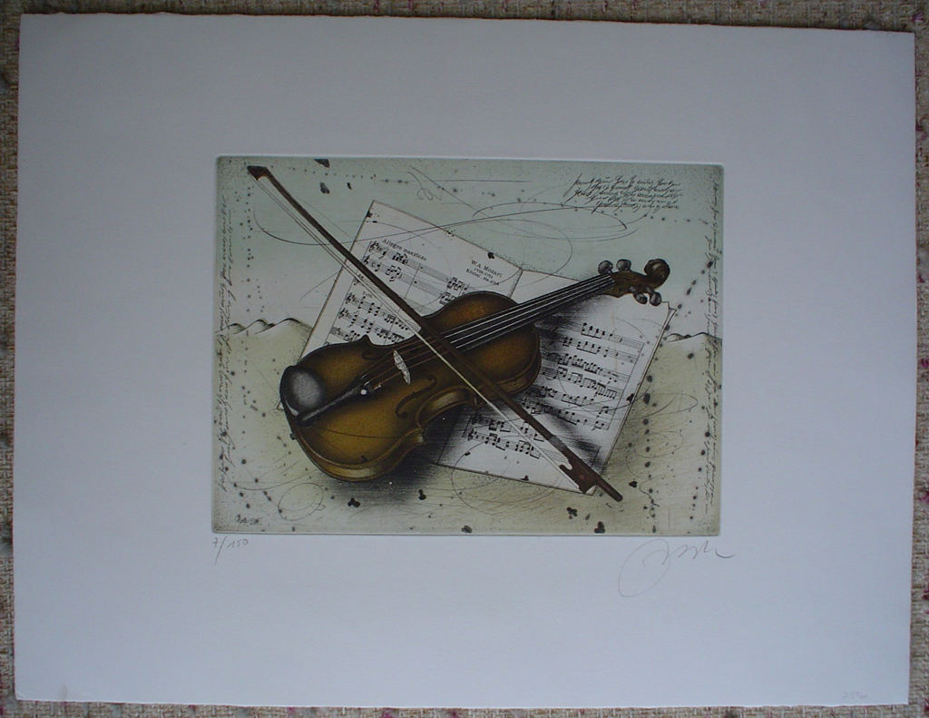 Violin And Mozart Music by Udo Nolte, shown with full margins - original etching, signed and numbered 7/ 150