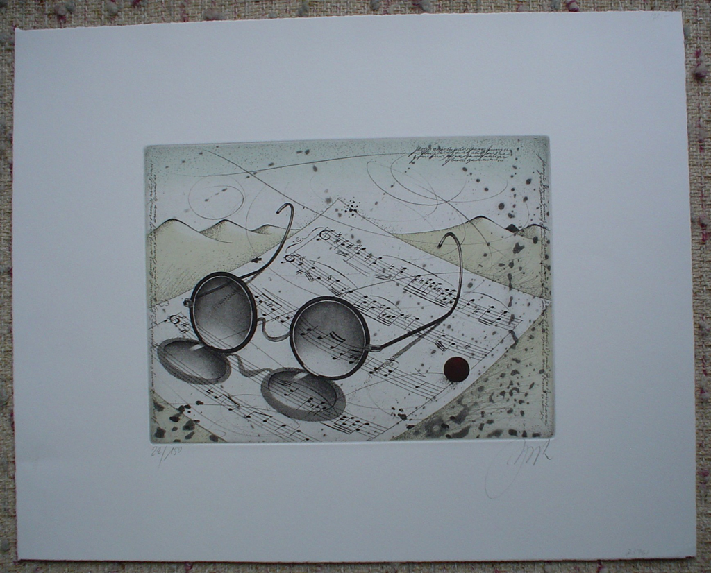 Eyeglasses And Music by Udo Nolte, shown with full margins - original etching, signed and numbered 22/ 150