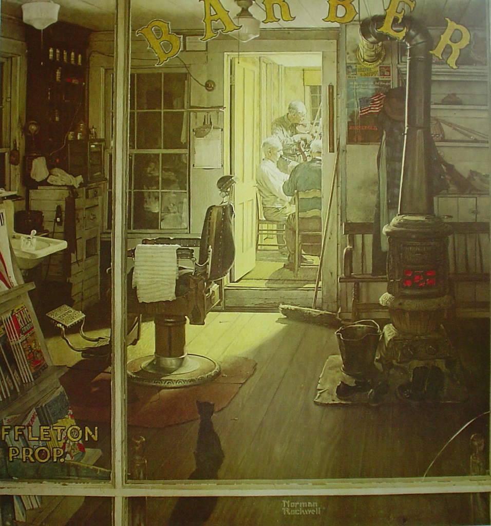 Shuffleton's Barbershop by Norman Rockwell - offset lithograph fine art print