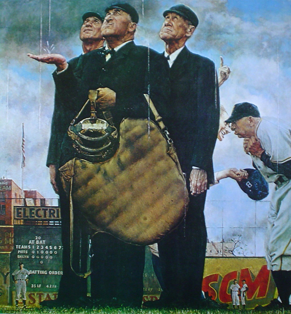 Three Umpires by Norman Rockwell - offset lithograph fine art print