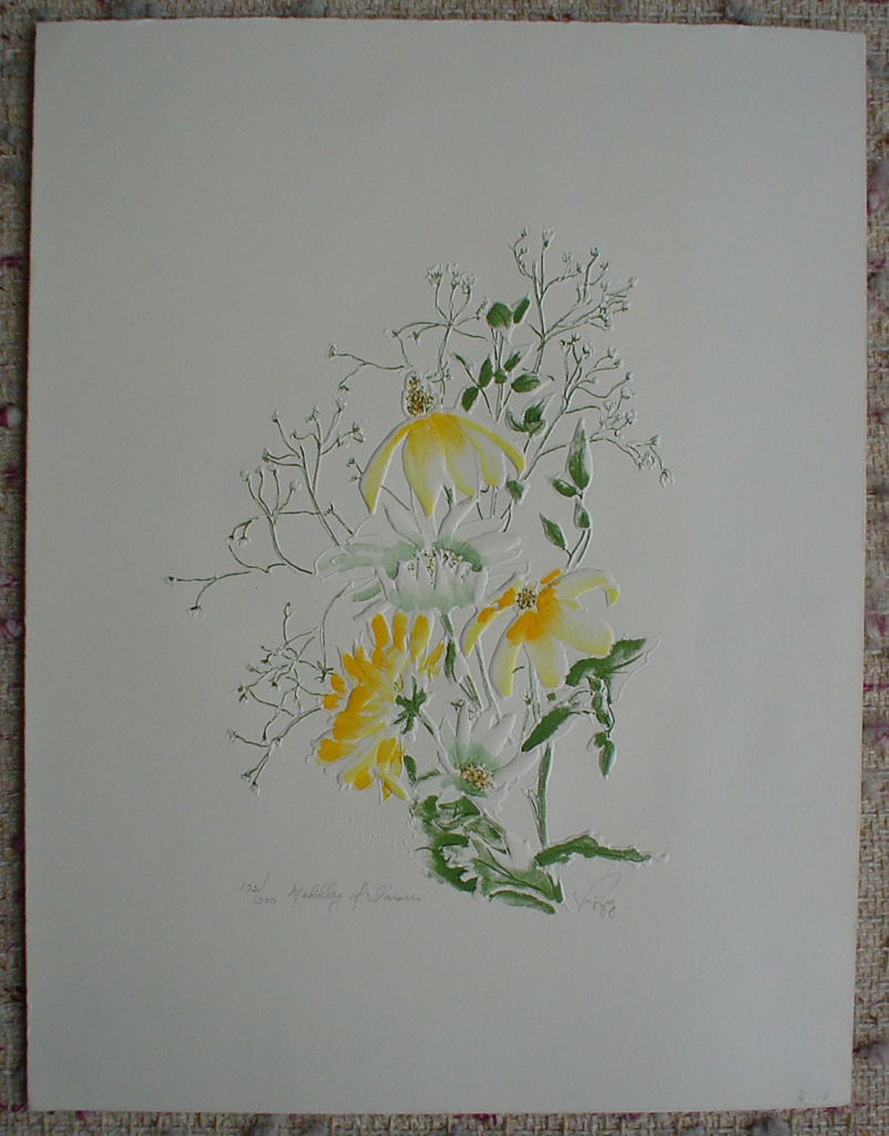 Daisy Medley by Rozy, shown with full margins - embossed original print, signed and numbered 172/ 200