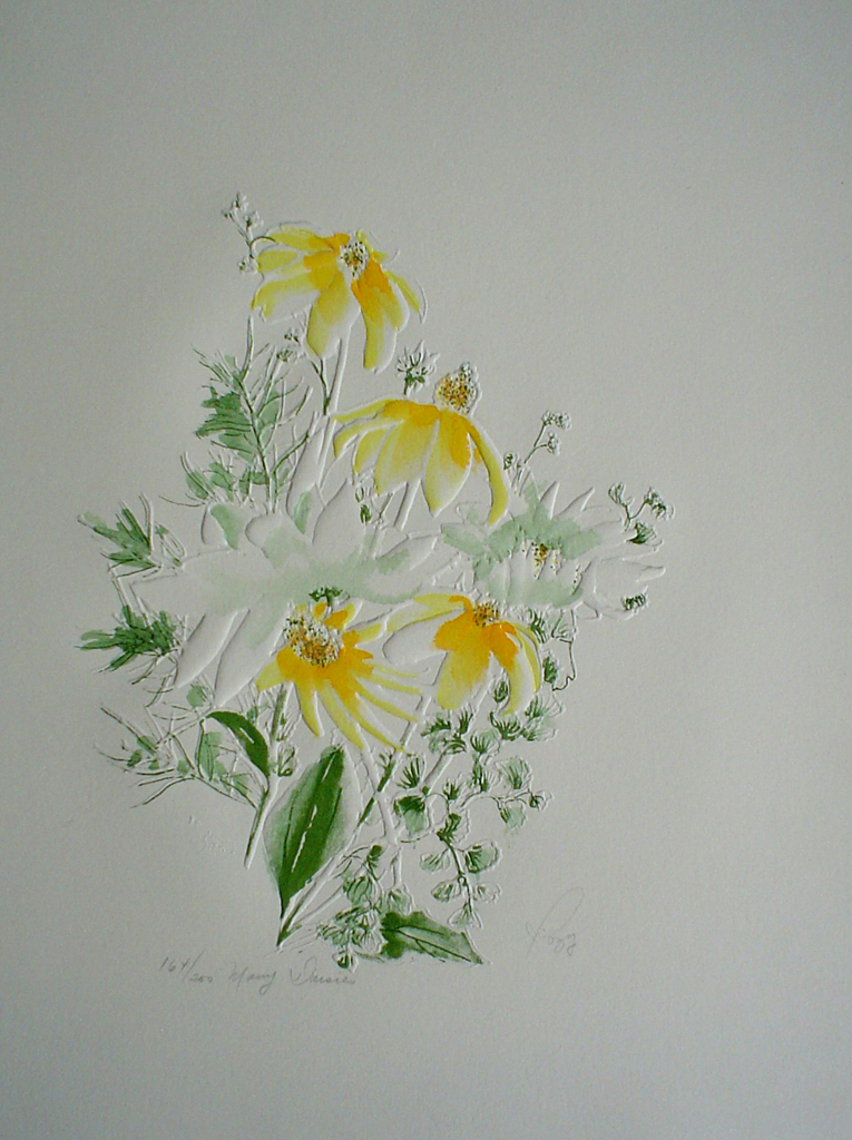Many Daisies by Rozy -original print, embossed, signed and numbered 164/ 200