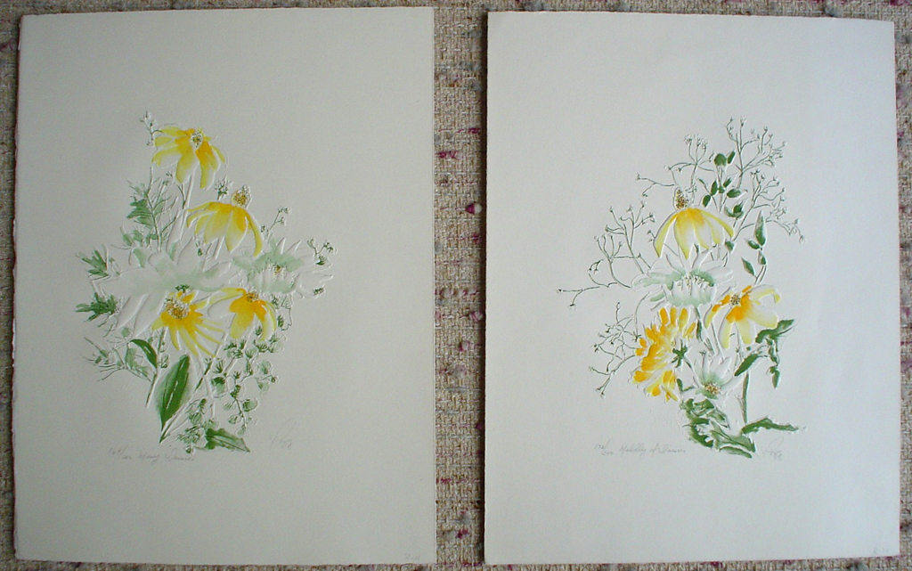 Many Daisies and Daisy Medley by Rozy - grouping of 2 original prints, embossed, signed and numbered