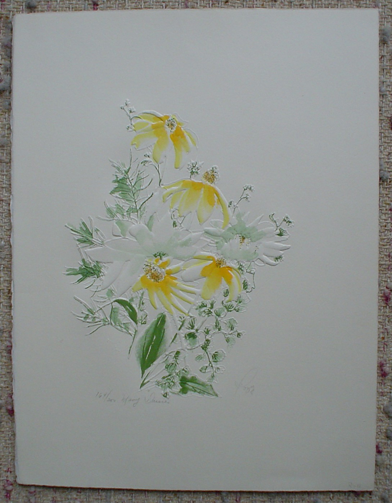 Many Daisies by Rozy, shown with full margins -original print, embossed, signed and numbered 164/ 200