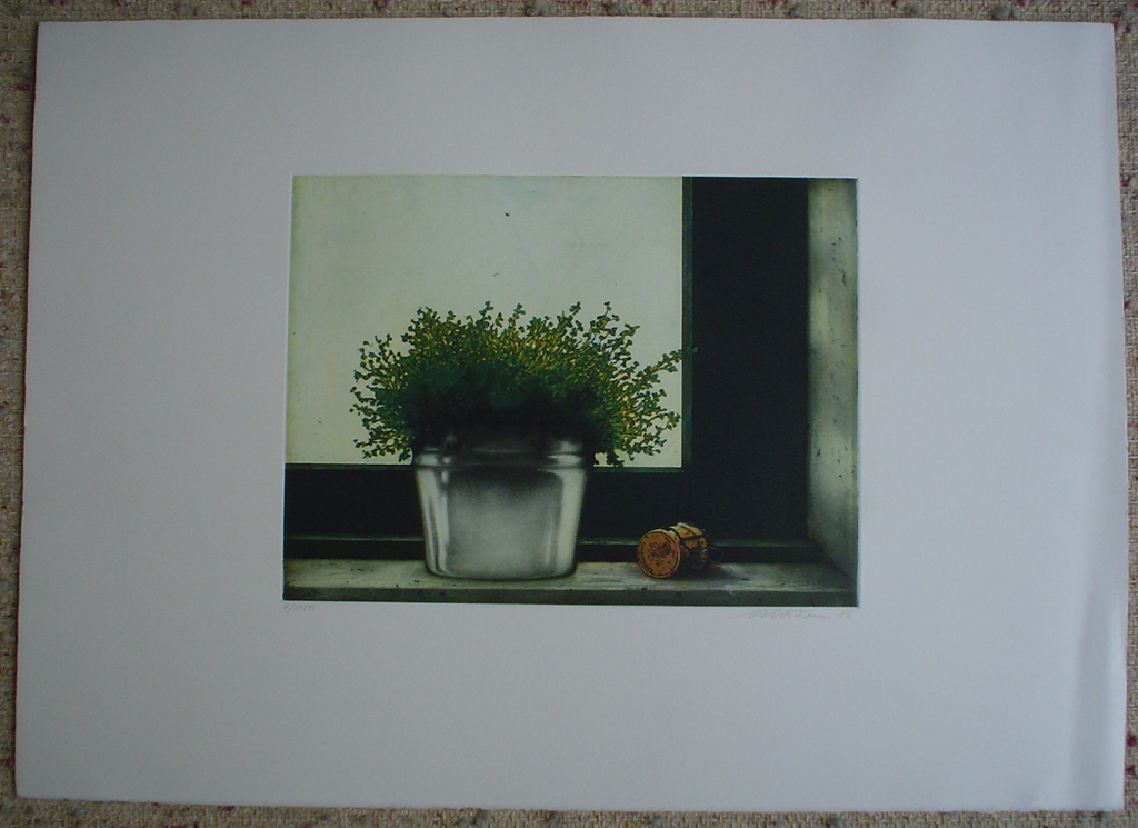 Wine Cork Still Life by Kurt Schoenen, shown with full margins - original etching, signed and numbered 4/ 150