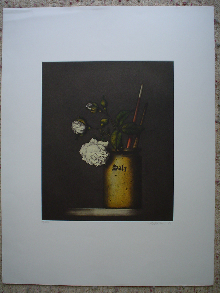 Salz Still Life by Kurt Schoenen, shown with full margins - original etching, signed and numbered 18/ 150