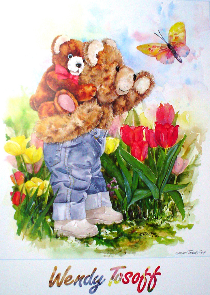 Piggyback Bear by Wendy Tosoff - offset lithograph art poster, hand-signed by artist