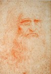 Self Portrait in Red Chalk of Leonardo DaVinci - offset lithograph vintage fine art print - printed in Italy (KerrisdaleGallery.com)