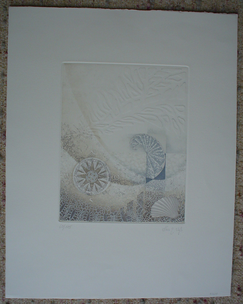 Embossed With Shell by Heinz Voss, shown with full margins - original etching, signed and numbered 60/ 115