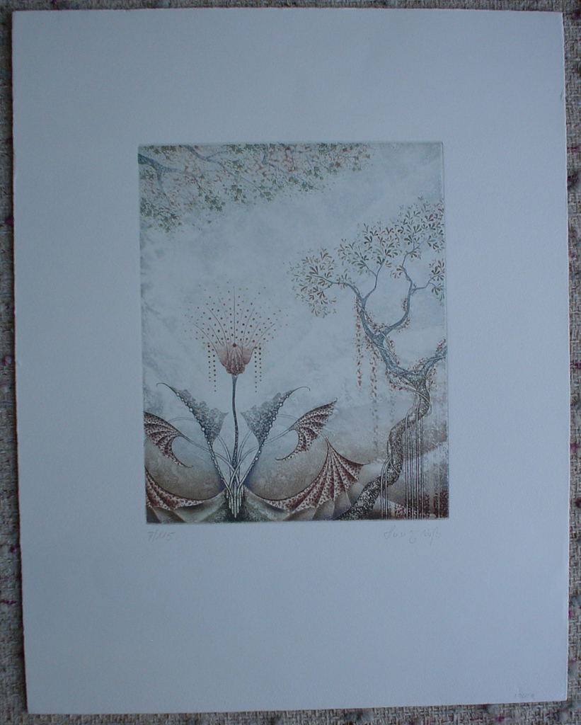 Brown Flower Fans by Heinz Voss, shown with full margins -  original etching, signed and numbered 7/ 115