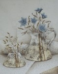 Blue Flowers With Brown by Heinz Voss, original etching, signed and numbered 17/ 115