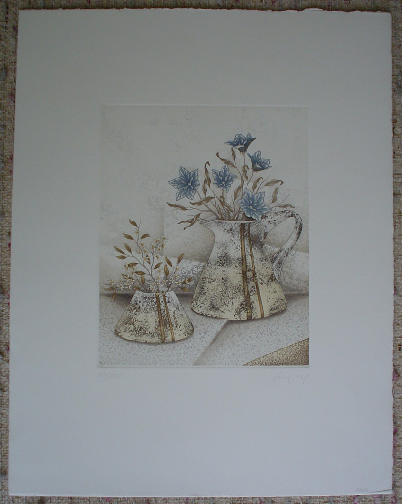 Blue Flowers With Brown by Heinz Voss, shown with full margins - original etching, signed and numbered 17/ 115