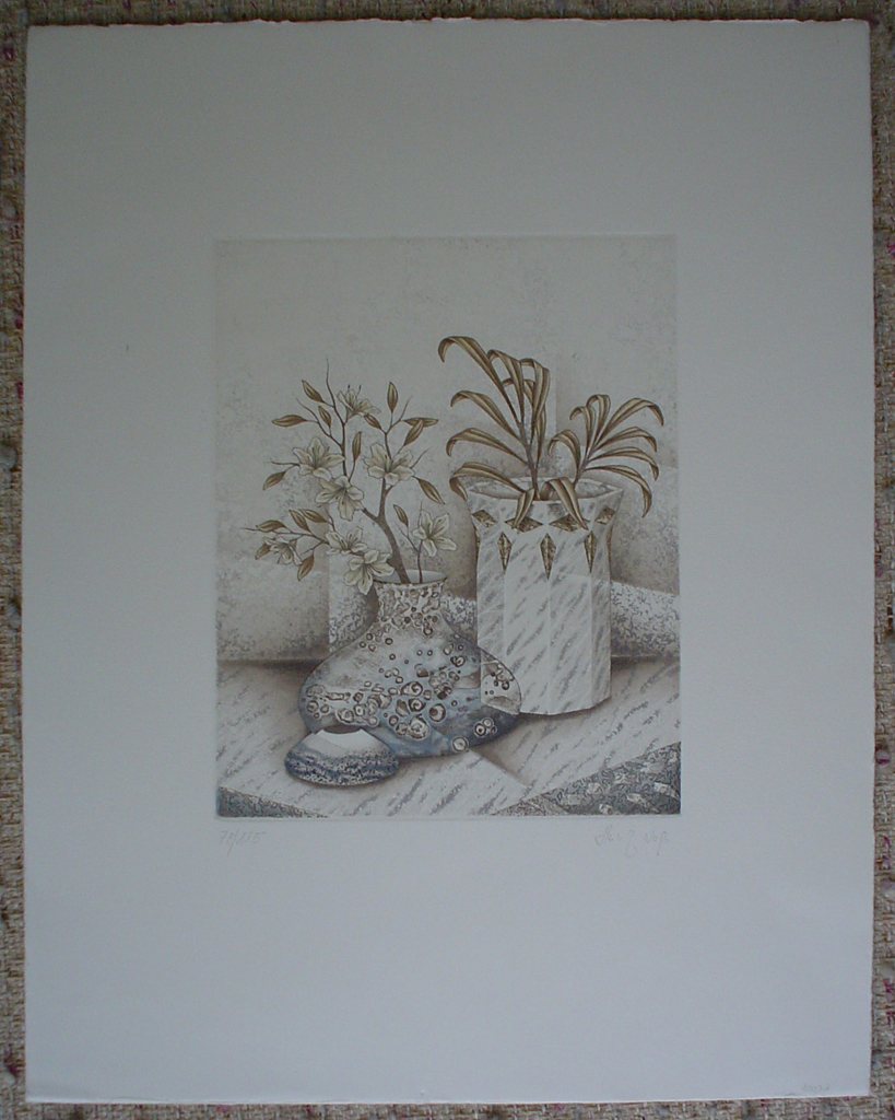 Brown Flowers With Blue by Heinz Voss, shown with full margins, original etching, signed and numbered 78/ 115