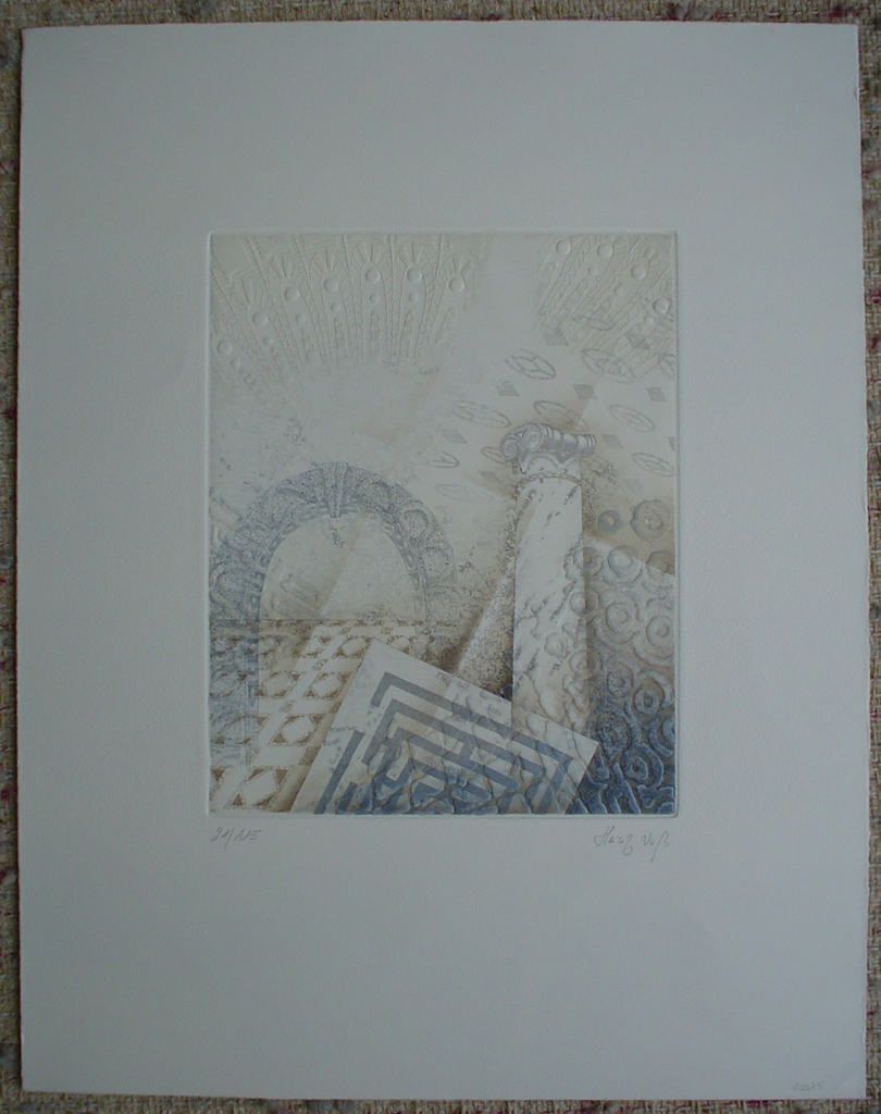 Embossed With Column by Heinz Voss, shown with full margins - original etching, signed and numbered 21/ 115