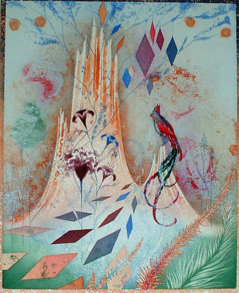 Bird Garden by Heinz Voss, original etching, signed and numbered 4/ 95