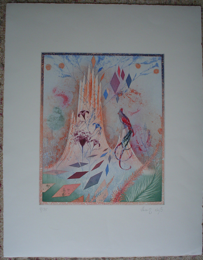 Bird Garden by Heinz Voss, shown with full margins - original etching, signed and numbered 4/ 95