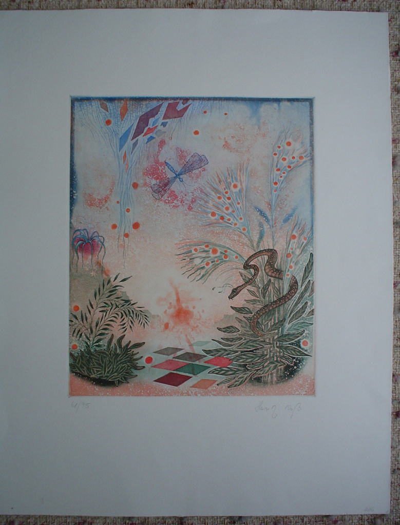 Dragonfly Garden by Heinz Voss, shown with full margins, original etching, signed and numbered 61/ 95