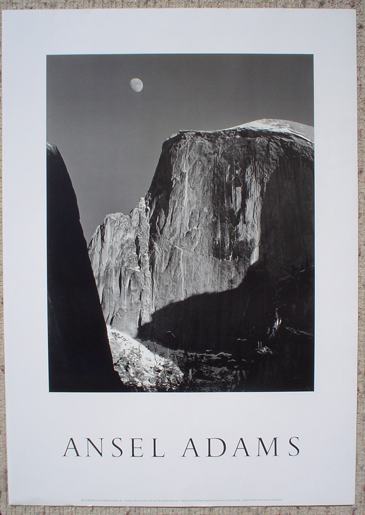 Moon And Half Dome by Ansel Adams, shown with full margins - offset lithograph fine art photographic poster print