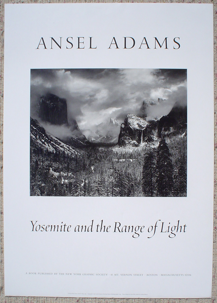 Clearing Winter Storm Yosemite by Ansel Adams, shown with full margins - offset lithograph fine art photographic poster print