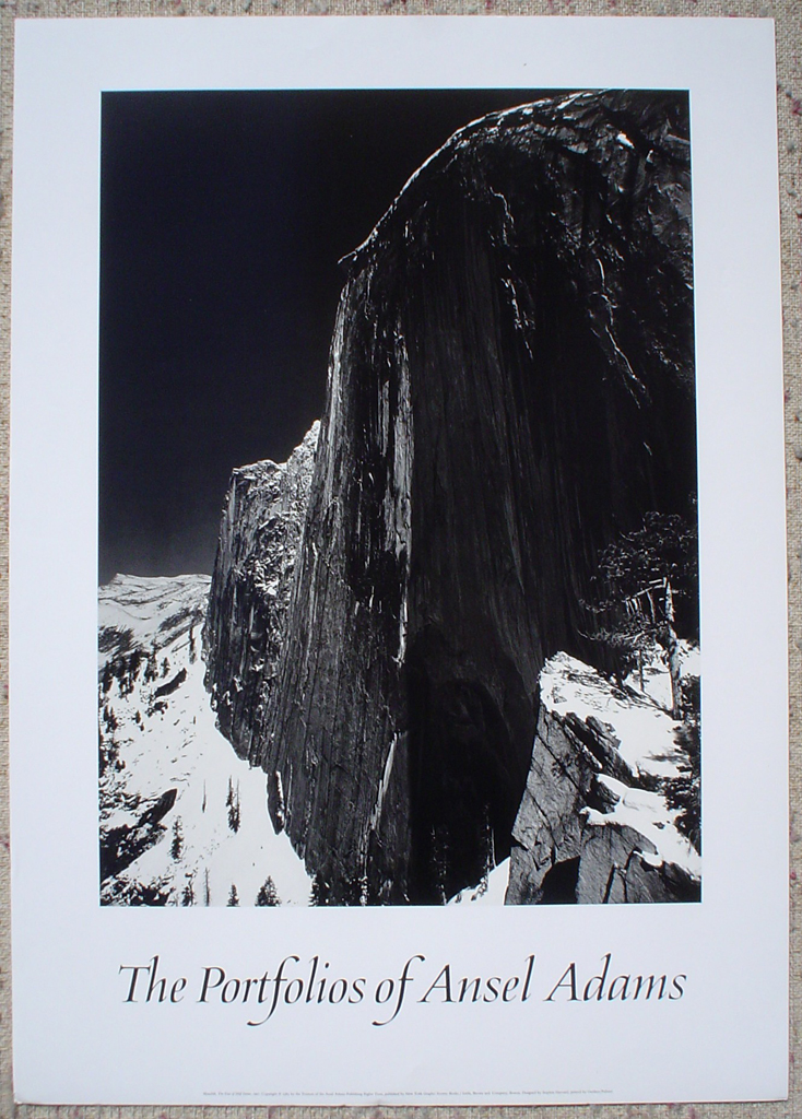 Monolith Face Of Half Dome by Ansel Adams, shown with full margins - offset lithograph fine art photographic poster print