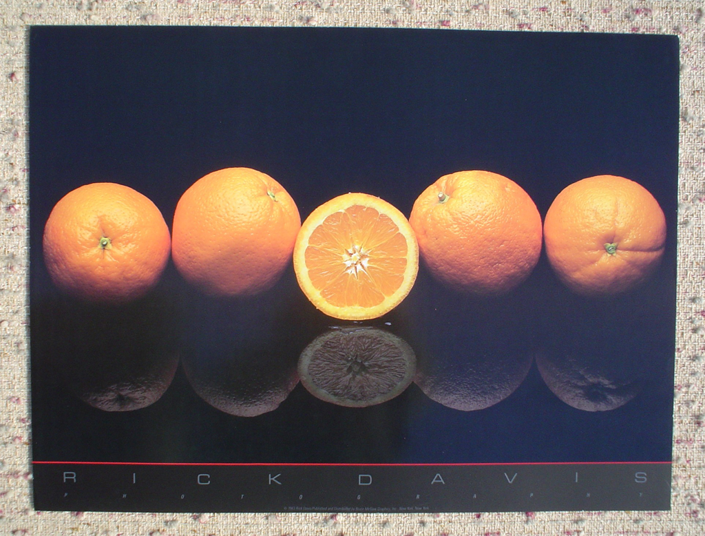 Oranges by Rick Davis, shown with full margins - offset lithograph fine art photographic poster print