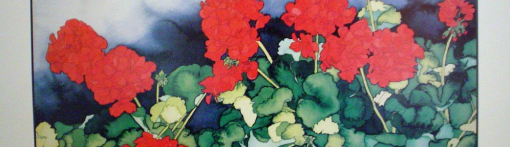 Cannon Beach Geraniums by Donald Ewen, hand-signed by artist - fine art poster print
