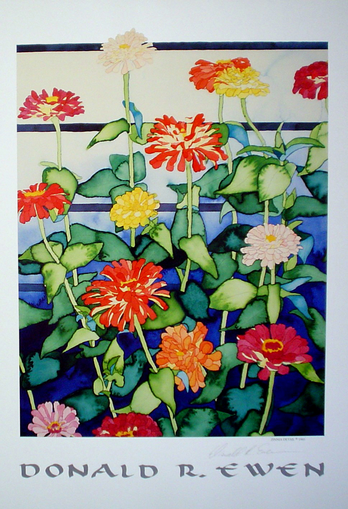 Zinnia by Donald Ewen - offset lithograph fine art poster print, hand-signed in pencil