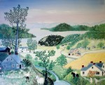 It's A Beautiful World by Grandma Moses (Anna Marie Robertson) - offset lithograph fine art print