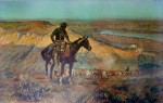 The Wagon Boss 1909 by Charles Marion Russell - collectible collotype fine art print mounted on canvas