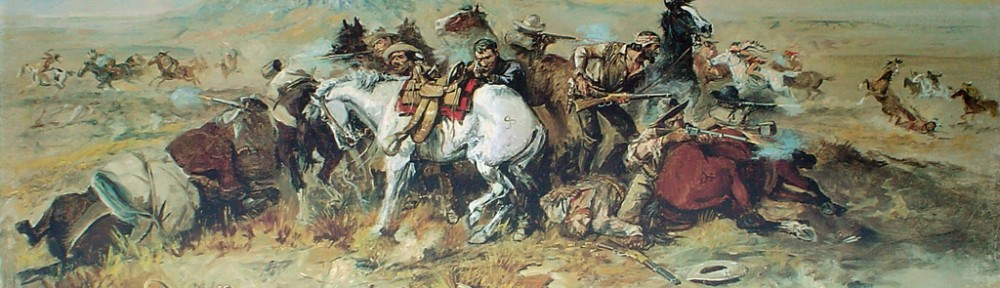 A Desperate Stand 1898 by Charles Marion Russell - offset lithograph fine art print