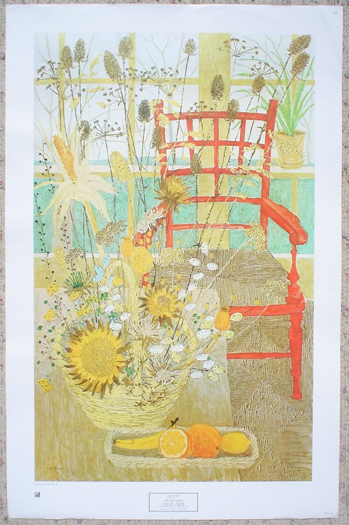 The Red Chair by Lydia Kemeny, shown with full margins - offset lithograph fine art print