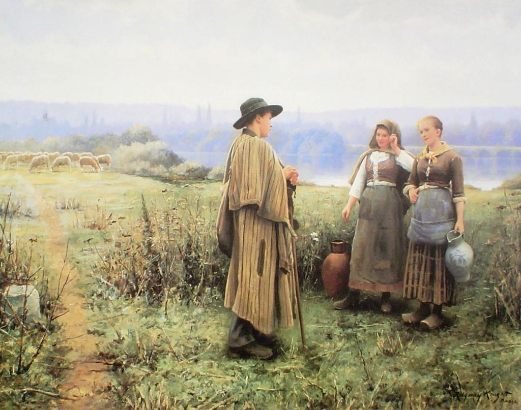 An Idle Moment by Daniel Ridgway Knight - offset lithograph fine art poster print
