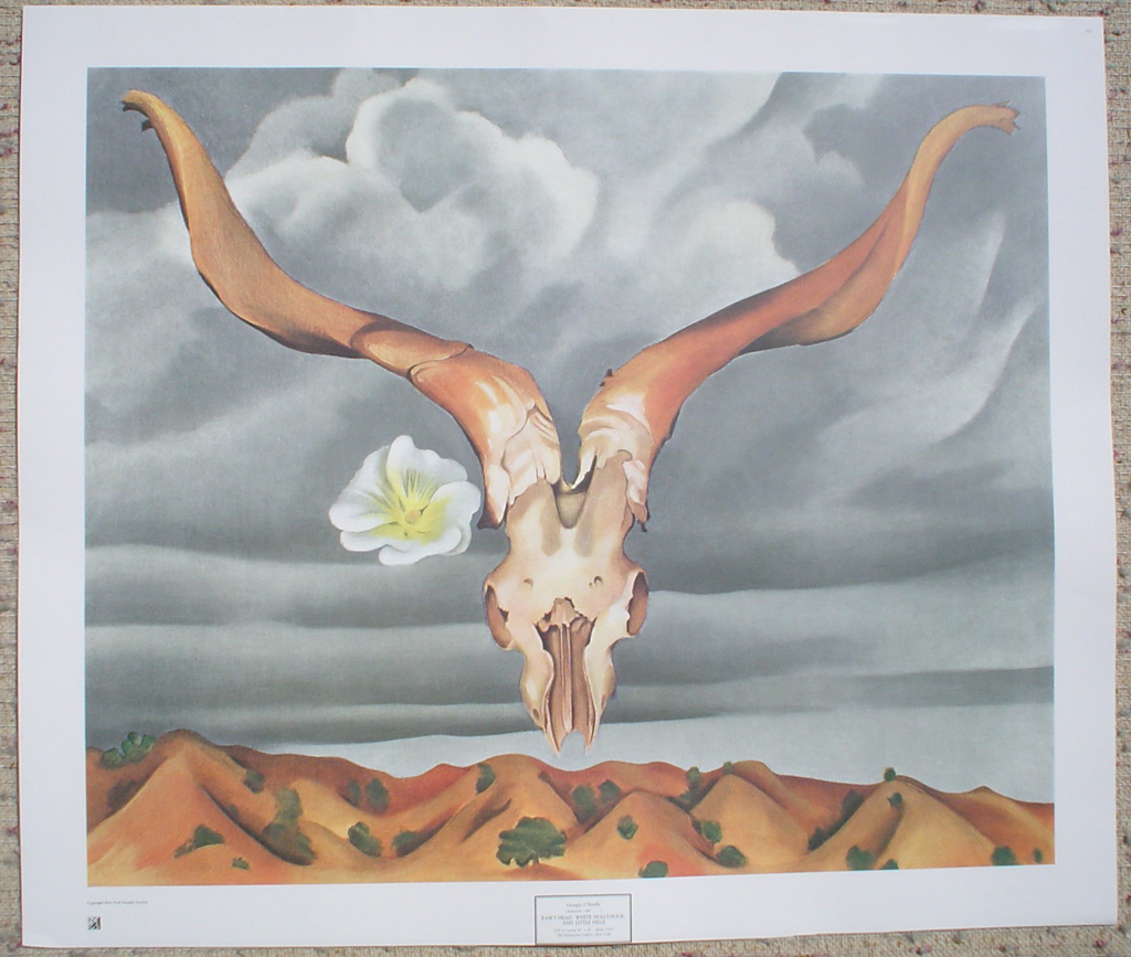Ram's Head White Hollyhock And Little Hills by Georgia O'Keeffe, shown with full margins - offset lithograph fine art print