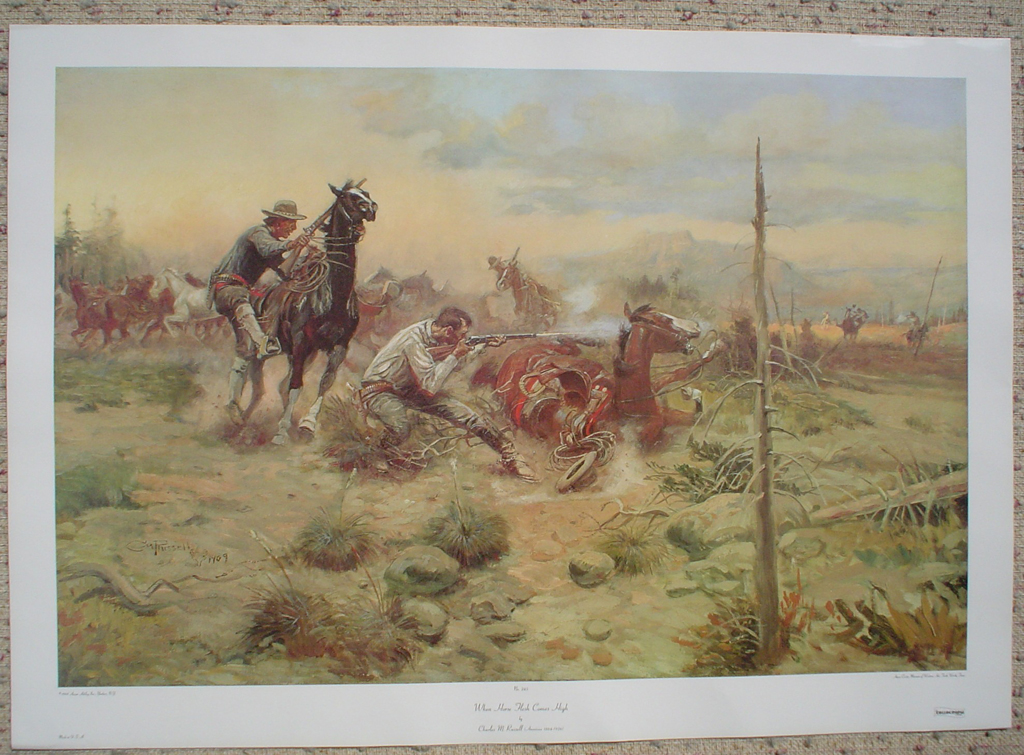 When Horse Flesh Comes High by Charles Russell, shown with full margins - offset lithograph fine art print