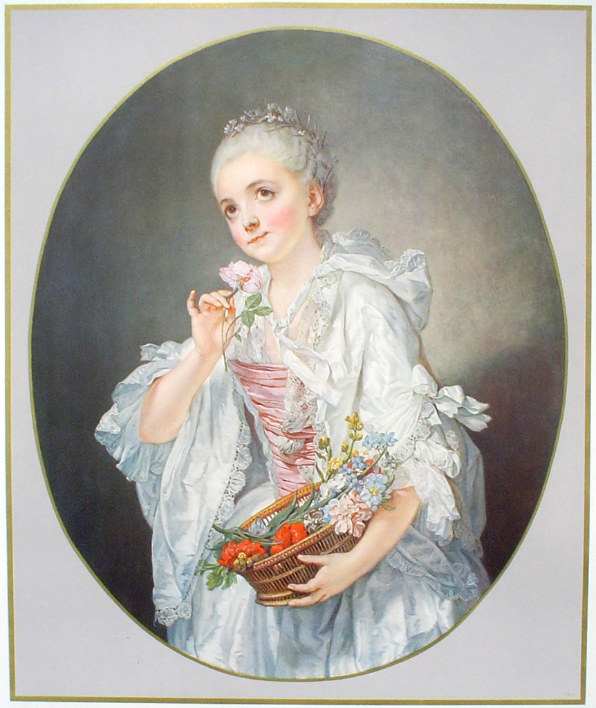 La Petite Fleuriste by Jean Baptiste Greuze - collectible collotype fine art print