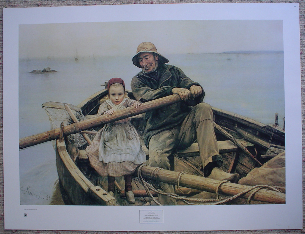 The Helping Hand by Emile Renouf, shown with full margins- offset lithograph fine art print