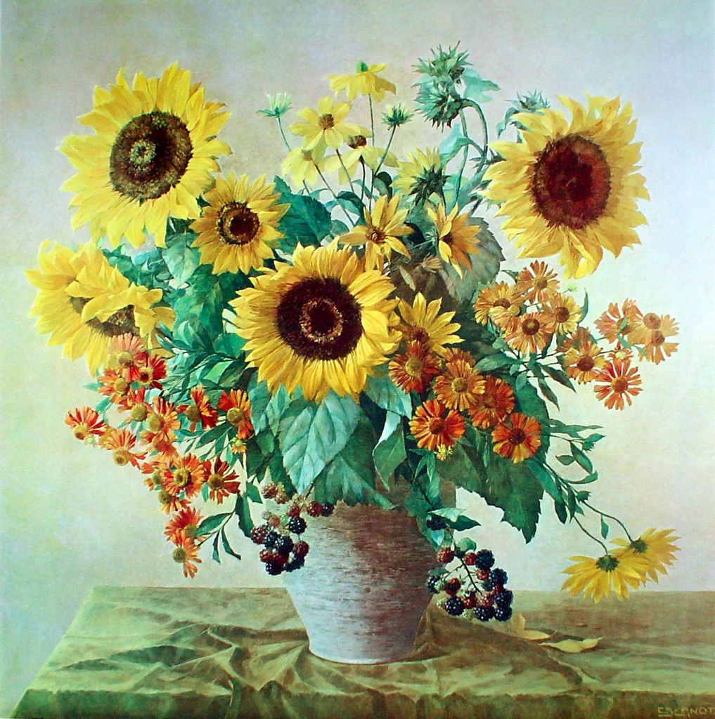 Sonnenblumen Sunflowers by Carl Berndt - collectible collotype fine art print