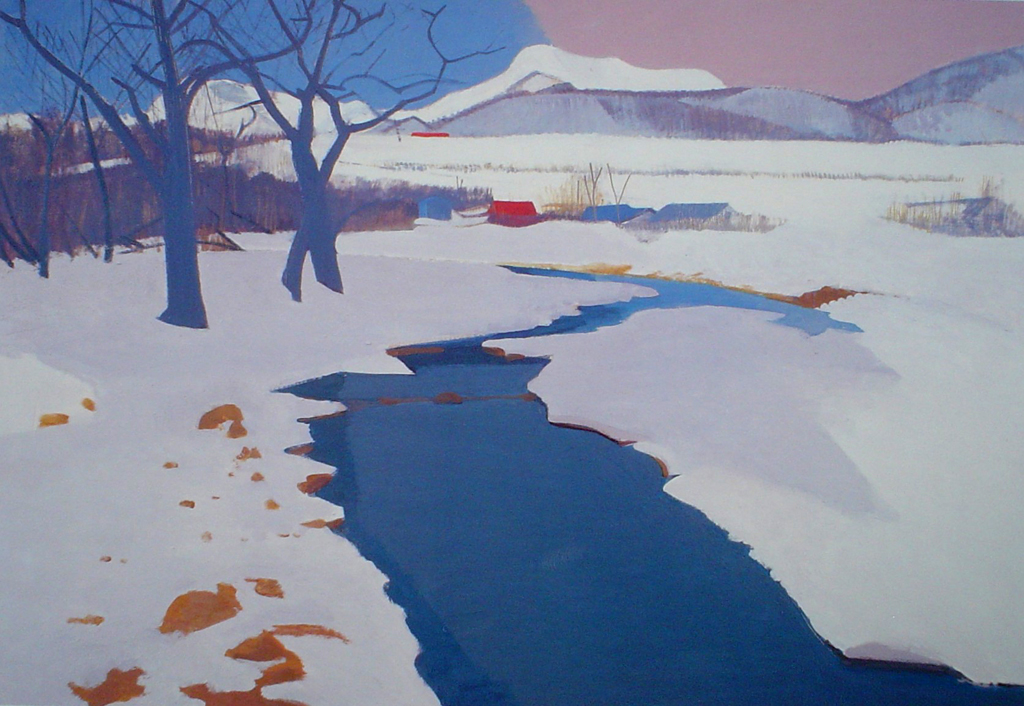 Stream Under The Snow by Ban Shindo - offset lithograph fine art print