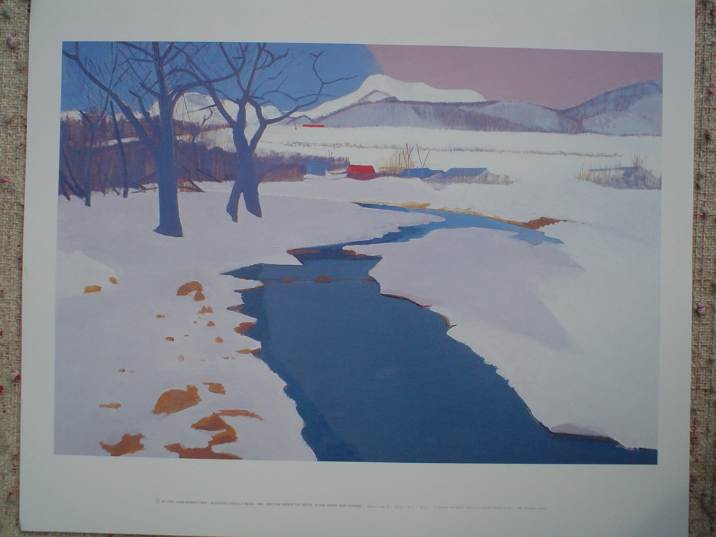 Stream Under The Snow by Ban Shindo, shown with full margins - offset lithograph fine art print