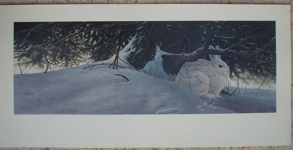 White Hare by Michael Dumas, shown with full margins - offset lithograph fine art print