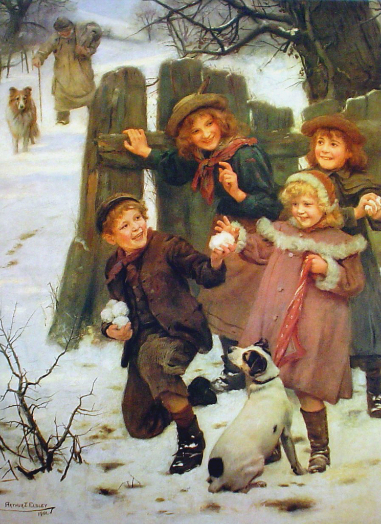 Children Snowballing by Arthur Elsley - offset lithograph fine art print