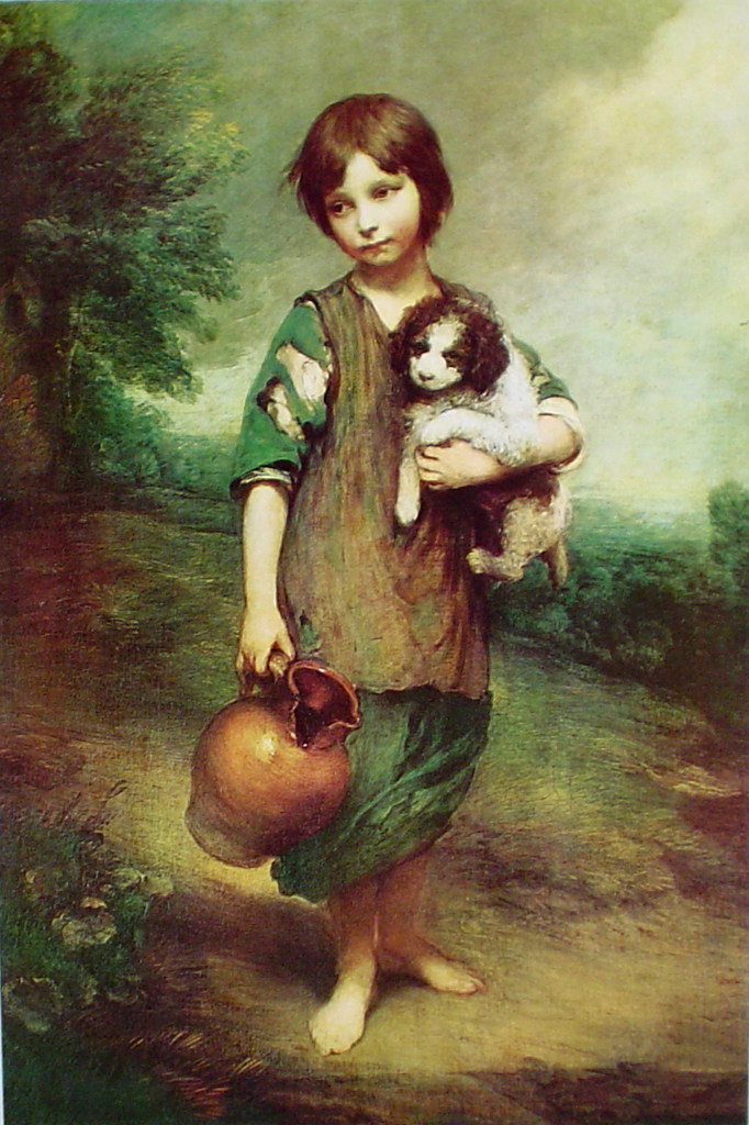 Cottage Girl With Dog And Pitcher by Sir Thomas Gainsborough - offset lithograph fine art print