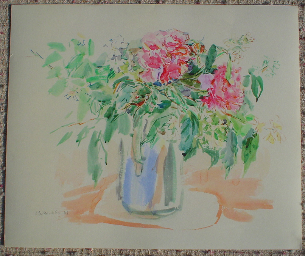 Roses At Villeneuve by Oskar Kokoschka, shown with full margins - collectible collotype fine art print